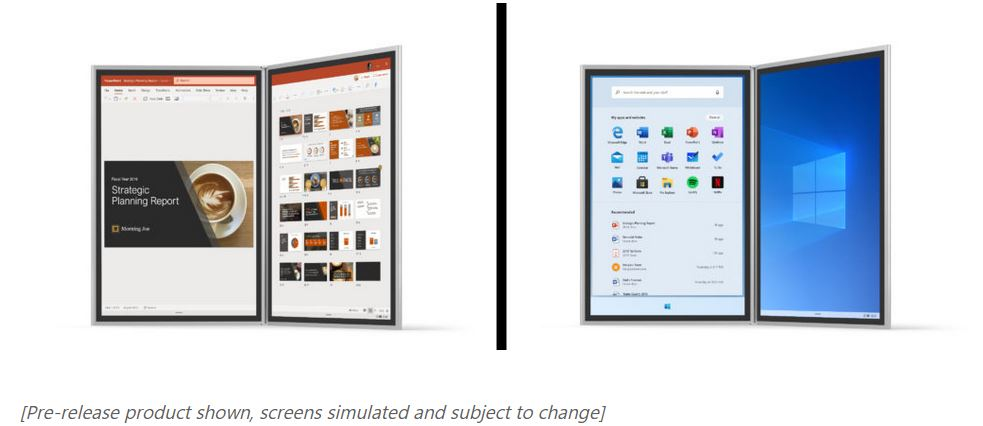 Two views of a dual-screen device at the Oct. 2 Surface event in NYC.