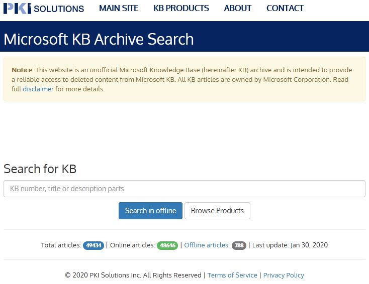 PKI Solutions MSKB search form