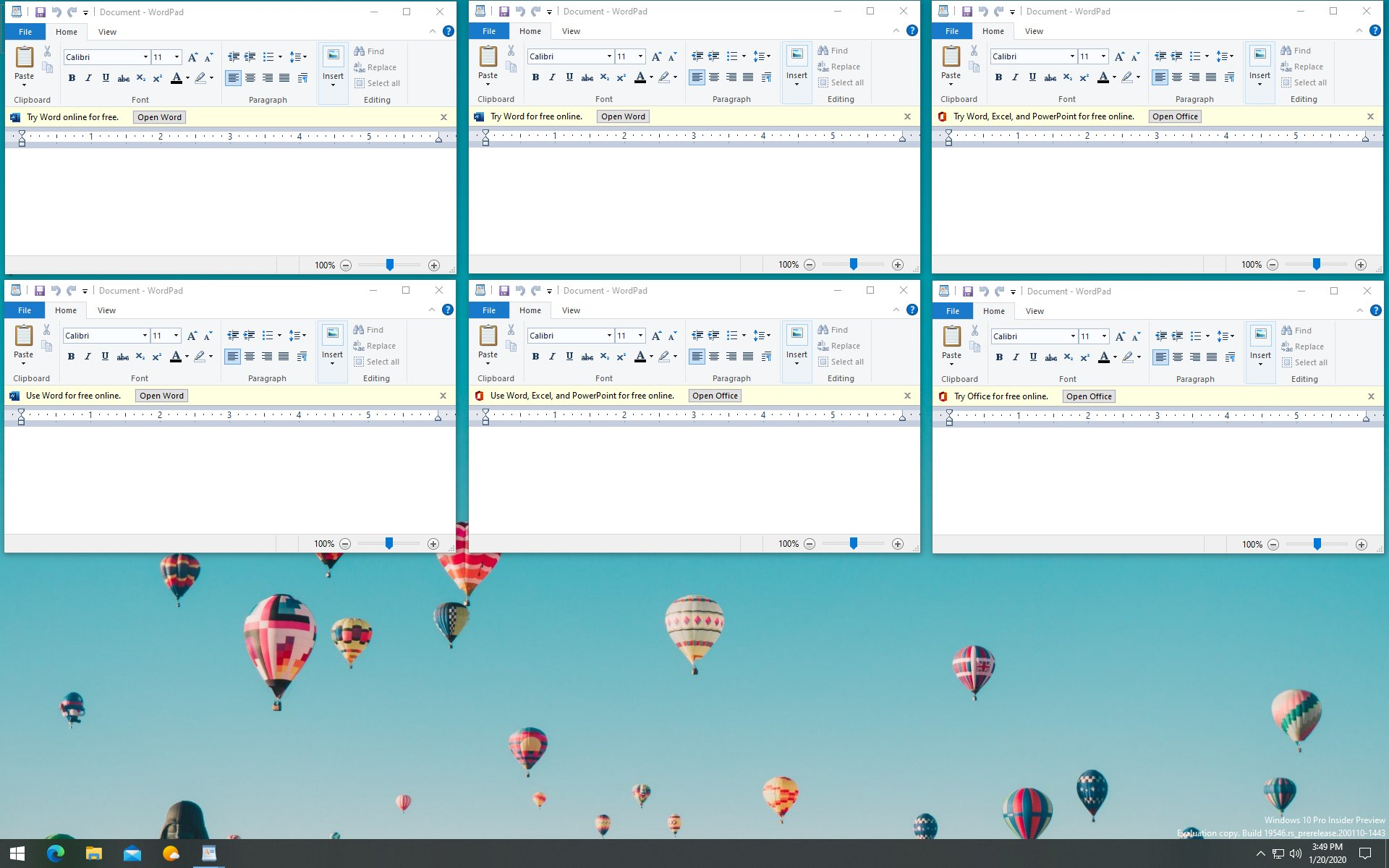 Various experimental layouts for WordPad with in-app ads
