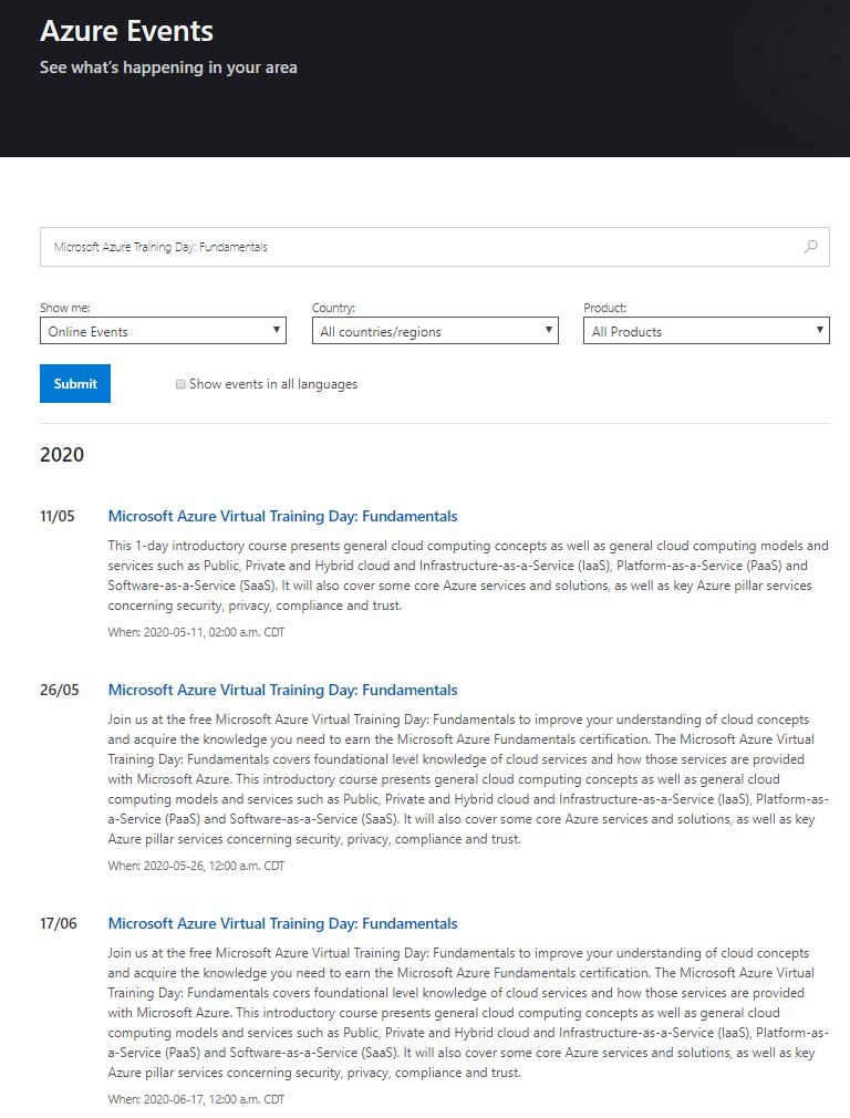 List of Azure Fundamentals training days in May 2020.