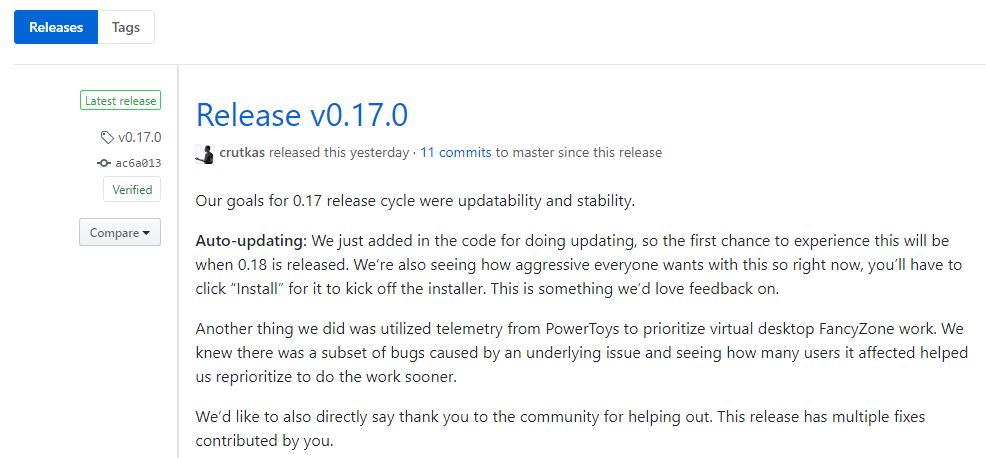 Current release item on PowerToys GitHub releases page.