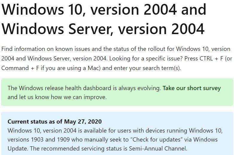 2004 starts out with 10 known issues