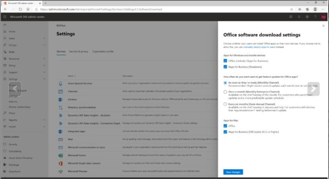 Office download settings show new channel names