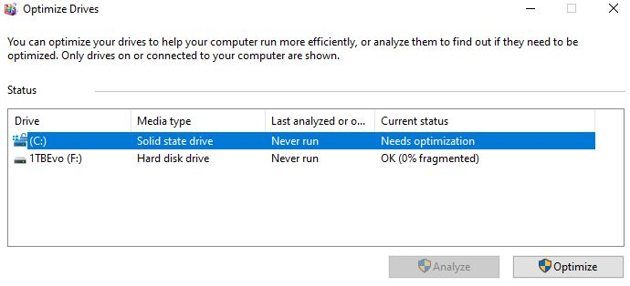Optimize drives may show system/boot as never optimized