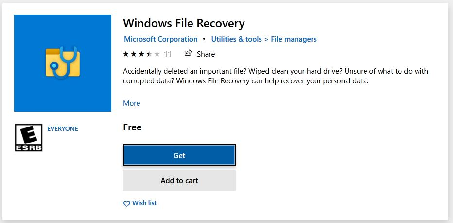 MS Store banner for Windows File Recovery
