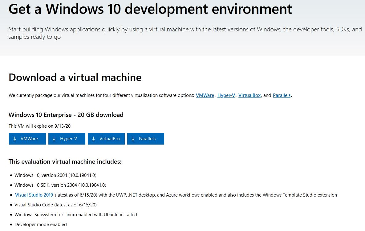 Options availalbe from Download a Windows 10 VM web page