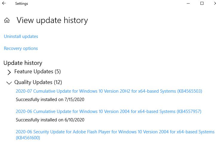 Latest item in update history is dated 7/15/2020