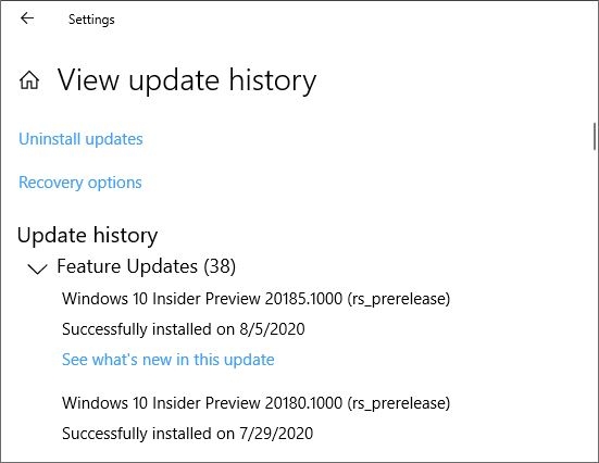 Update history shows 20185 Feature Update