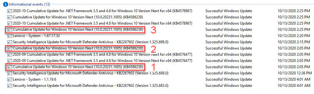 It took three tries before this Dev Channel install updated to minor build 1005.