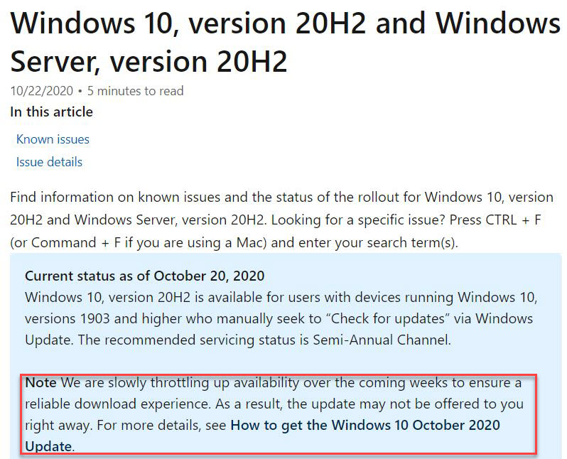 """20H2 status says MS is """"slowly ramping up availability."""" No lie!"""