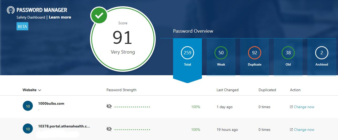 Norton Password Manager now includes a pretty informative Safety Check